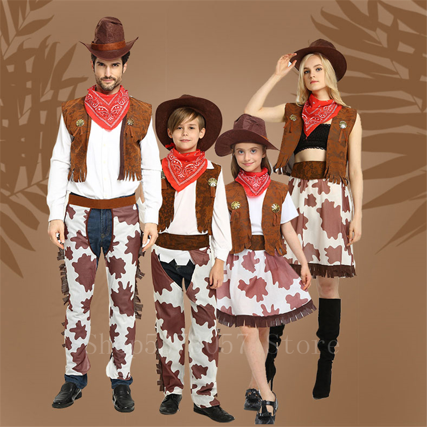 Adult Kids Cowboy Cosplay Costume Halloween Party Carnival Clothing Set Wild Western Fancy Cowgirl Performance Family Clothes