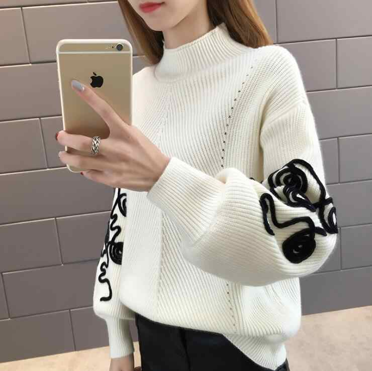Women Lantern Sleeve Half Turtleneck Loose Floral Pullover Sweater Lady Knitted Casual Pullovers Jumper Autumn Winter Tops Q9108