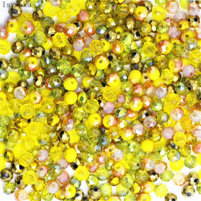 Isywaka Pink Multicolor 4*6mm 50pcs  Rondelle Austria faceted Crystal Glass Beads Loose Spacer Round Beads for Jewelry Making