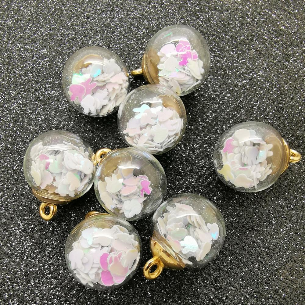 10PCs Glass Pendant Round Bottle Press dried Flower Wish Bottle quicksand