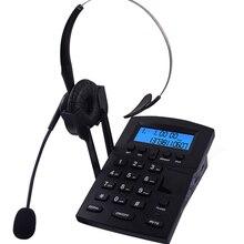 Telefone com fio call center dialpad fone de ouvido telefone com fsk e dtmf caller id & redial, lcd ajustável brilho & volume