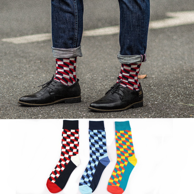 Fashion Harajuku Style Unisex Street Fashion Cotton Socks Hip Hop Skateboard Men Socks Fun Plaid Checkerboard Pattern Socks