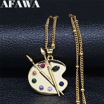 Painting Plate Zircon Copper Stainless Steel Necklaces Women Gold Color Choker Necklace Jewelry cadenas mujer NC120S01