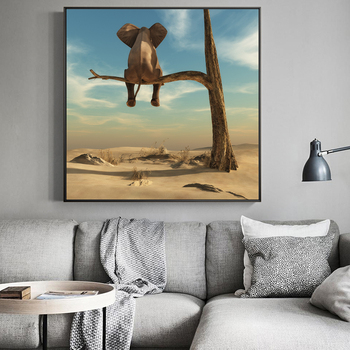 Elephant Sits On Tree Branch Surrealism Painting Printed on Canvas 3