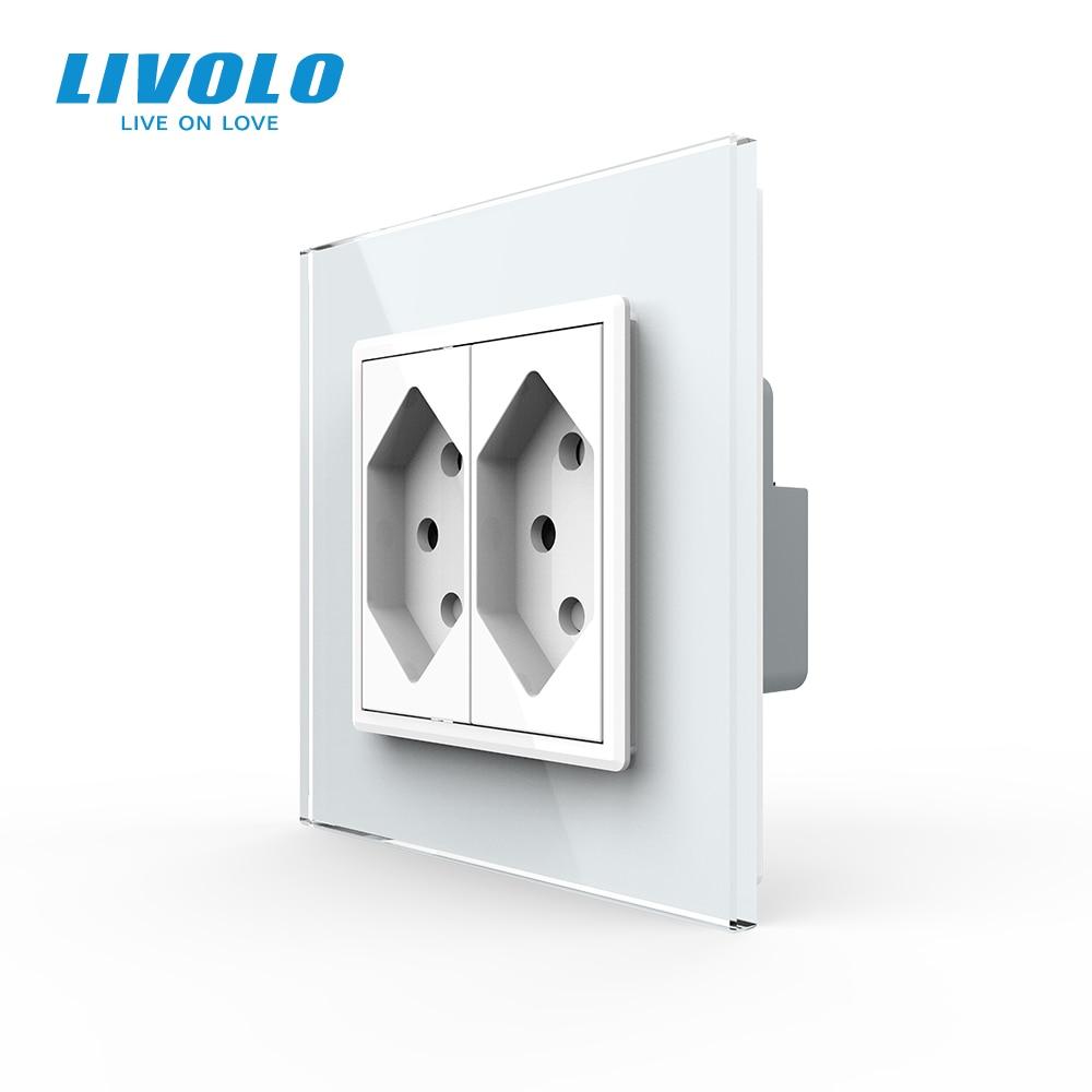 Livolo EU Standard two gang Switzerland Power Socket colorful Crystal Glass Panelswitzerland  10A double Wall Power Socket