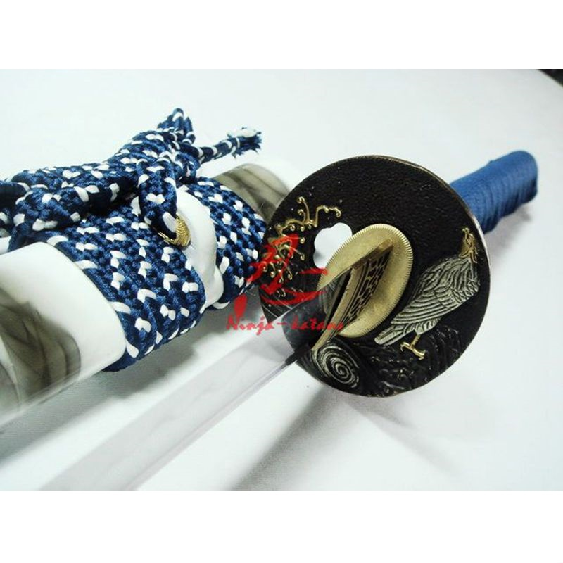 battle ready japanese white katana eagle tsuba clay tempered sanmai blade sharpen work blade