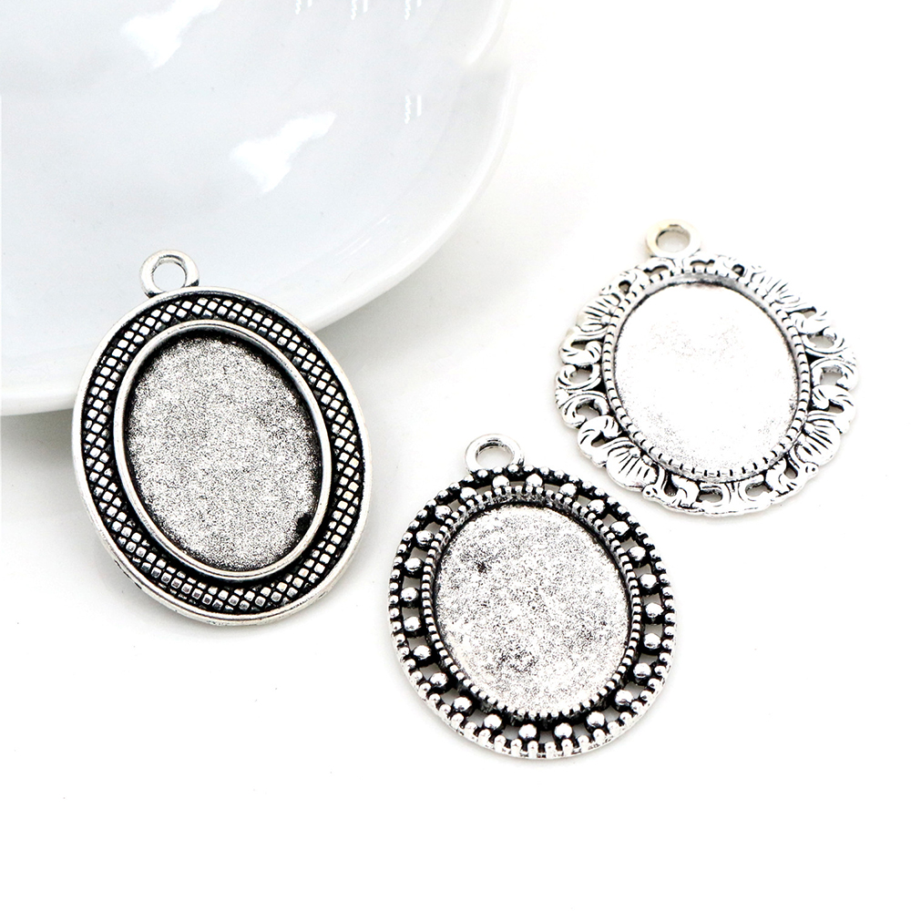 10pcs 18x25mm Inner Size 2 Style Antique Silver Plated Flowers Style Cameo Cabochon Base Setting Pendant Necklace Findings-