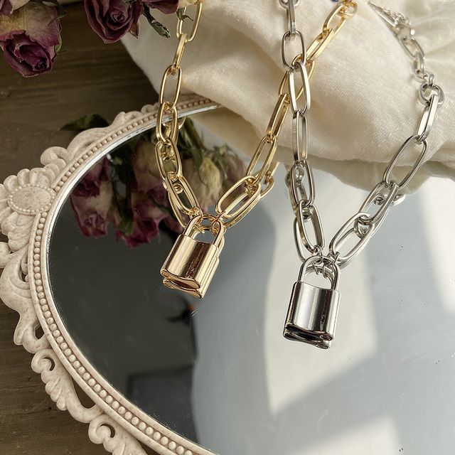 beautiful chain link and lock necklace in silver or gold 1