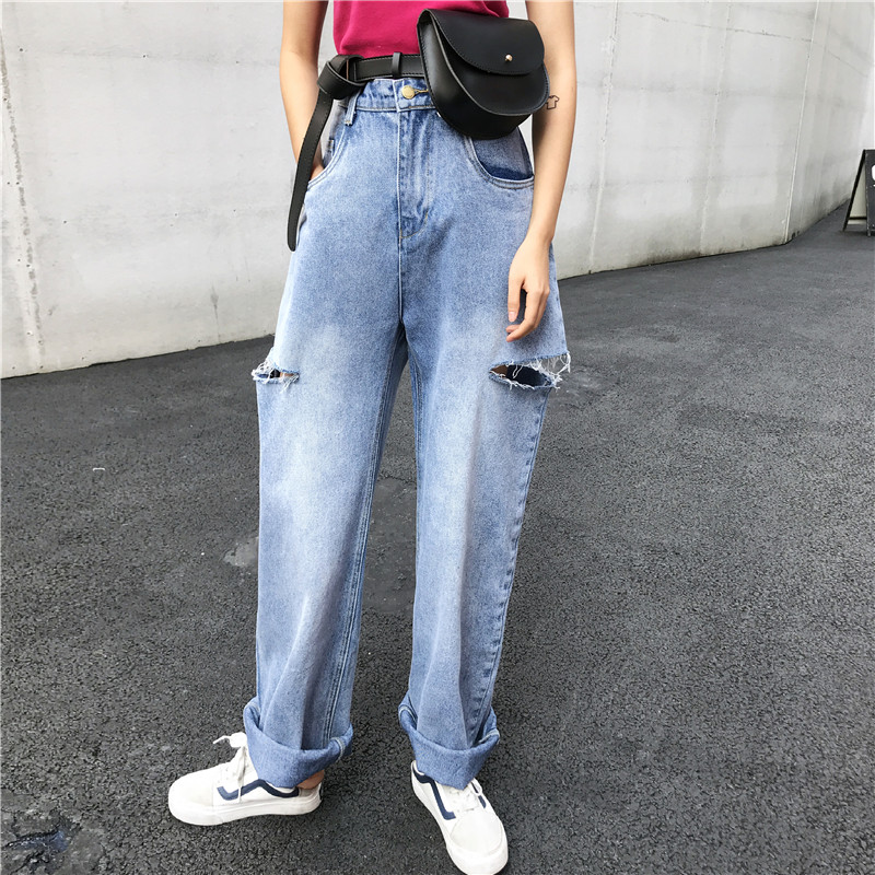 SML 2020 Women High Wiast Ripped Jeans Streetwear Fashion Wide Leg Denim Pants Womens Loose Vintage Pants (xh3674