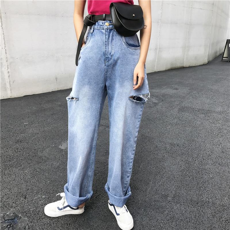 SML 2020 Women High Wiast Ripped Jeans Streetwear Fashion Wide Leg Denim Pants Womens Loose Vintage Pants (xh3674