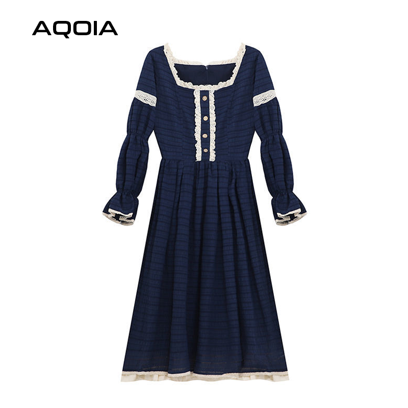 2021 Spring Lace Women Dress Lolita Style Sweeter Long Sleeve Square Collar Dresses Latern Sleever Cute Cosplay Ladies Dress-5