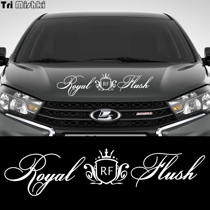 Tri Mishki HZX950 60*14.3cm Cute Crown Royal Flush Car Sticker Auto Windscreen Vinyl Decals Accessories Sticker