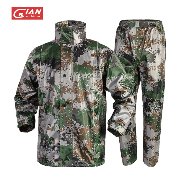 Adults Camouflage Men Raincoat Rain Pants Suit Motorcycle Waterproof Body Rain Coat Jacket Mens Sports Suits Rainwear Hiking 1