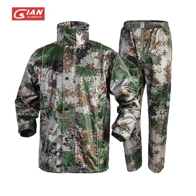 Adults Camouflage Men Raincoat Rain Pants Suit Motorcycle Waterproof Body Rain Coat Jacket Mens Sports Suits Rainwear Hiking 1