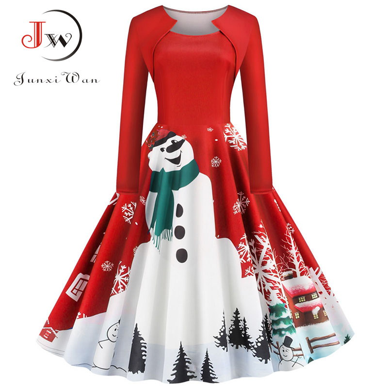 Square Collar Elegant Long Sleeve Women Winter Christmas Dress Plus Size Snowman Print Red Vintage Party Dress Robe Plus Size
