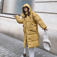 New Down Jacket, Women's Long, Loose, Super hot Ins Bread Jacket, Fashionable Dinosaur Hat, Removable Fat Mm Jacket