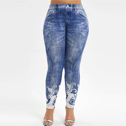 Printed High Waisted Plus Size Jeggings Women Skinny Sexy Push Up Leggings Bottom Gym Fitness Leggings 5XL 2019 Fall New