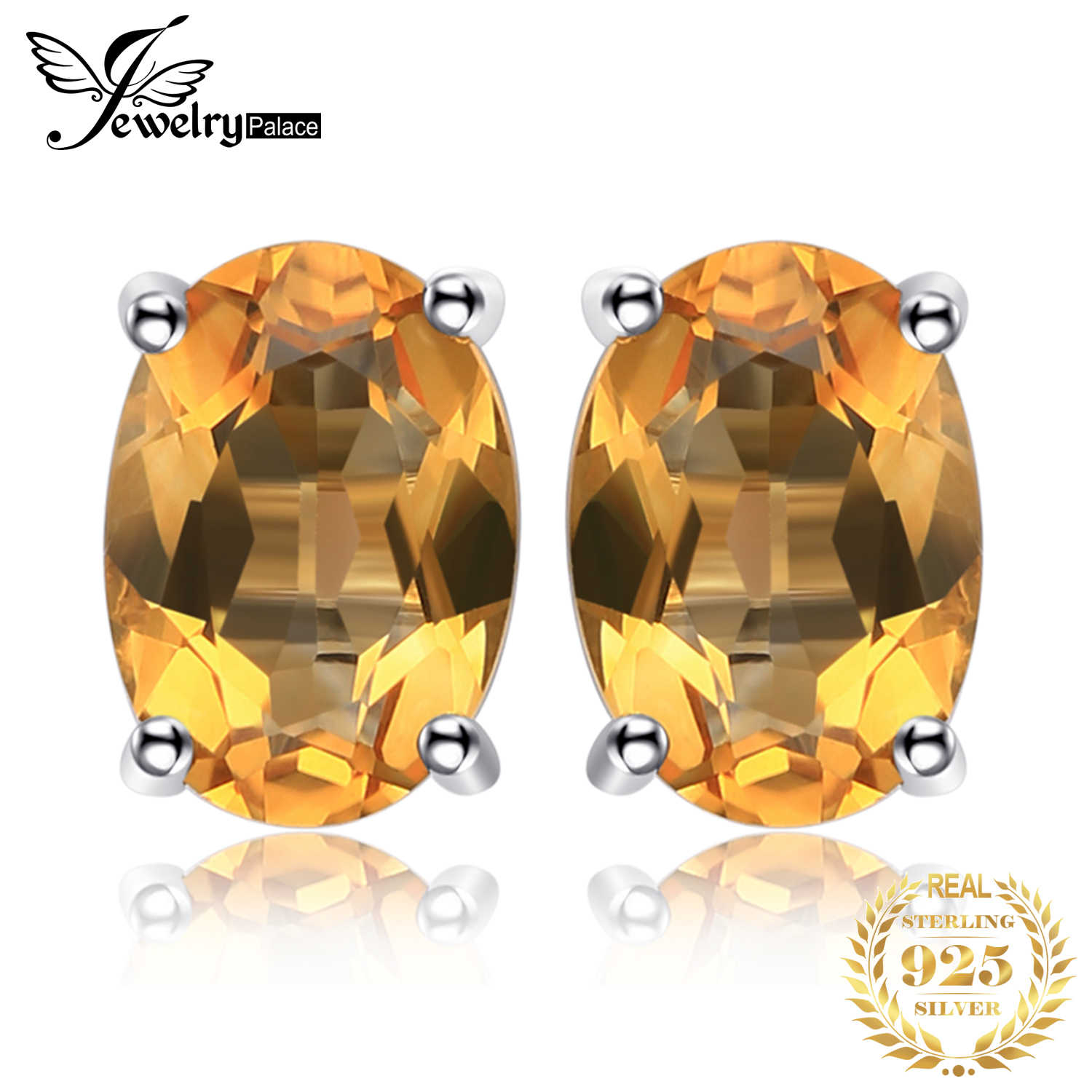 JewelryPalace 1.4ct Genuine Citrine Stud Earrings 925 Sterling Silver Earrings For Women Korean Earings Fashion Jewelry 2019