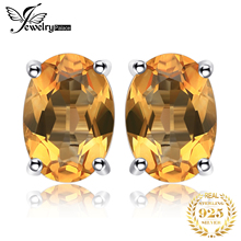 High Quality 14ct Genuine Citrine Earrings For Women Oval Cut Solid 925 Sterling Silver Stud Charms Gemstone Jewelry Brand New