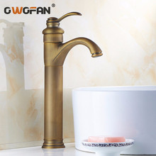 Free shipping  Antique Brass Bathroom Basin Faucets Tall Basin Mixer Tap Great Faucet torneira banheiro basin mixer tap ZLY-6637 dual handle tall golden bathroom faucet brass basin mixer tap