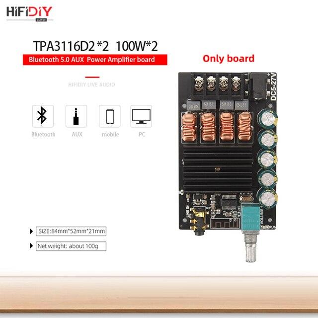 HIFIDIY LIVE Bluetooth 5.0 AUX TPA3116 Digital Power Amplifier board 2x 50W 100W speaker Stereo Audio AMP Module Home music 1002 4