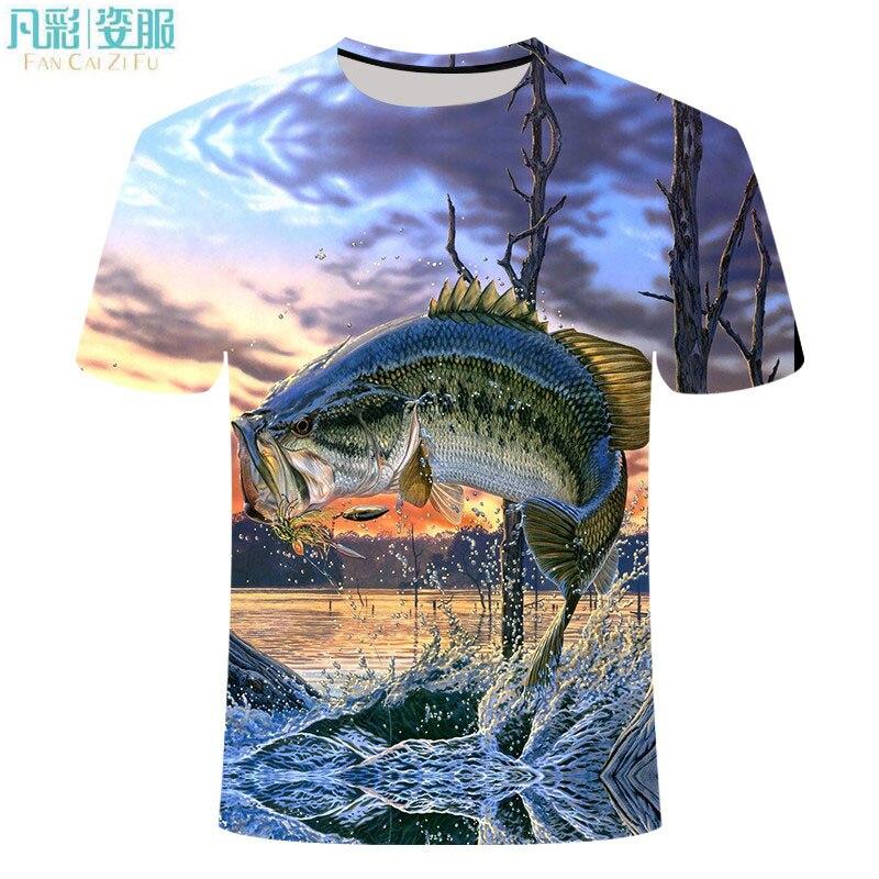 Casual Cool Animal Fishing T-shirt Men Women Funny T Shirt Men's Hip-hop T-shirts Printed O-neck Short Sleeve Tops&Tee 6XL