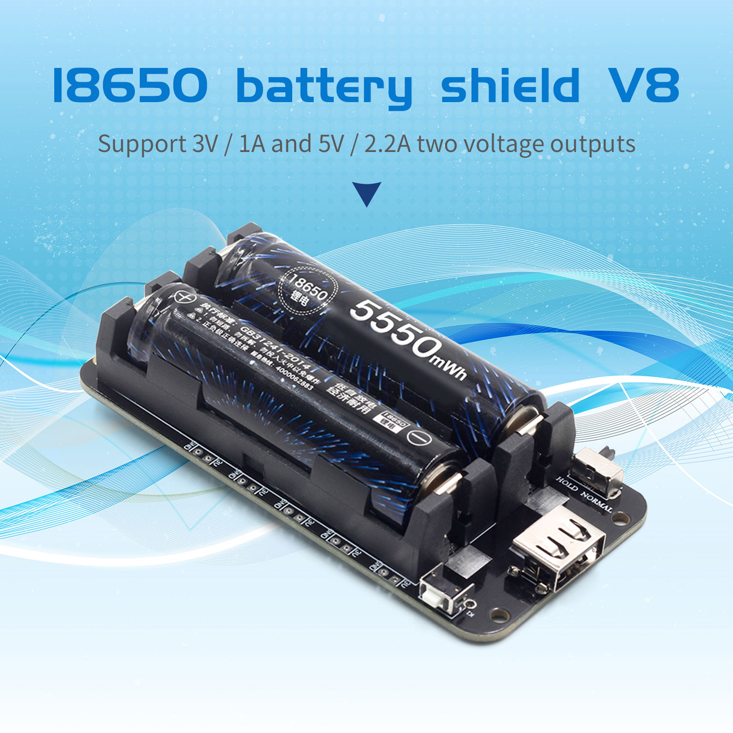 Two Voltage 18650 Lithium Battery Shield V8 Mobile Power Expansion Board Module 5V/3A 3V/1A Micro USB For Arduino ESP32 ESP8266