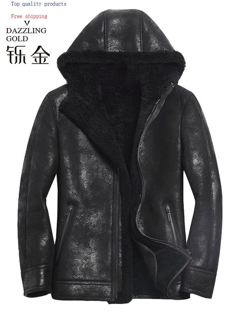 100% Genuine Leather Men Coat Shearling True Sheepskin Men Jacket Real Sheep Fur Coat For Men High Quality Fashion Coat Winter
