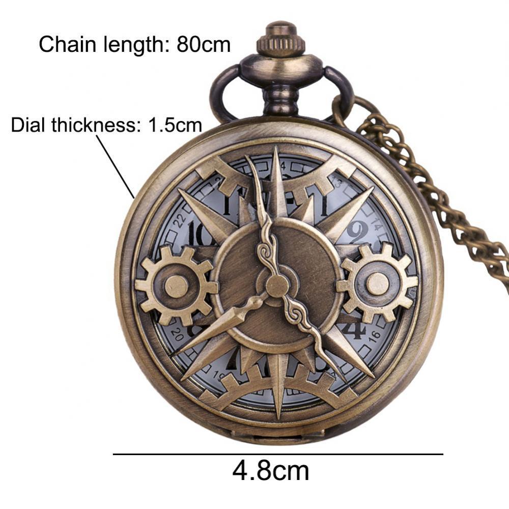 Vintage Unisex Hollow Gear ArabicS1 Number Quartz Pocket Watch Pendant Necklace