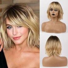 Perruque synthétique 50% naturelle et 50% de haute qualité, perruque bouclée de longueur moyenne avec raie latérale asymétrique et frange Blonde pour femmes