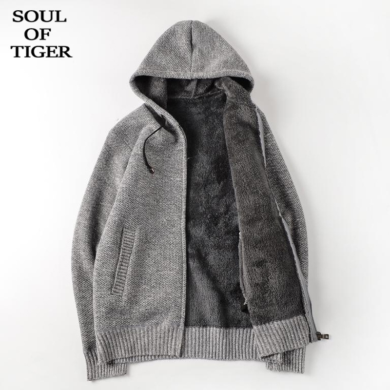SOUL OF TIGER Korean Fashion Winter New Knitted Cardigans Mens Vintage Hooded Sweaters Male Loose Zipper Fur Clothing Plus Size