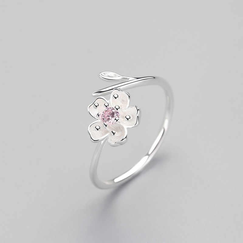 Prawdziwe 925 ze srebra wysokiej próby z cyrkonią emalia kwiat śliwy regulowany pierścień elegancka biżuteria dla kobiet Romantic Party Bijoux
