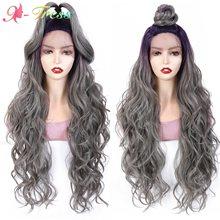Ombre couleur perruque synthétique dentelle avant perruques longue lâche ondulé lune partie dentelle perruques pour les femmes noires Pruple à gris ondulé perruque X-TRESS