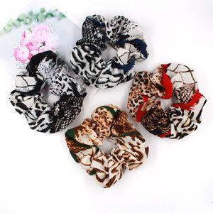 Image 4 - (50 Pieces/lot) Printed Retro Leopard Lattice Hair Rope Chiffon Fabric Elastic Hair Bands Flower Lady Hair Scrunchies