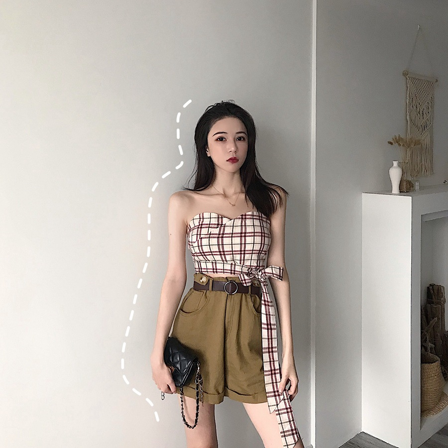 Photo Shoot 2019 WOMEN'S Dress Summer Plaid With Drawstring Wrap-around Tops + High-waisted Army Green Denim Shorts With Belt