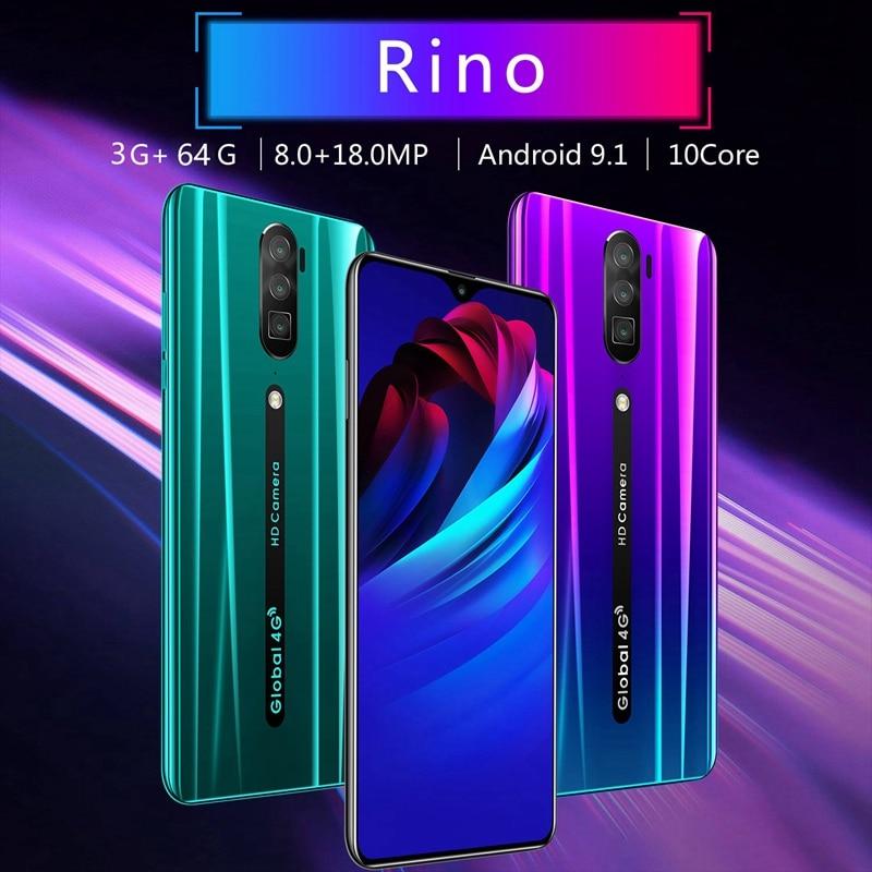 Rino RAM 3G ROM 64G Full Screen Smartphones Android OS 9.1 System Dual SIM Card 4G Phones,EU Plug