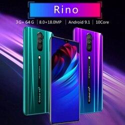 Rino RAM 3G ROM 64G teléfonos inteligentes de pantalla completa Android OS 9,1 sistema Dual SIM Tarjeta 4G teléfonos, enchufe de la UE