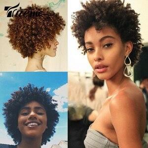 Trueme Verworrene Lockige Kurze Mode Perücken Für Schwarze Frauen Brasilianische Remy Verworrenes Lockiges Menschliches Haar Billig Volle Perücke