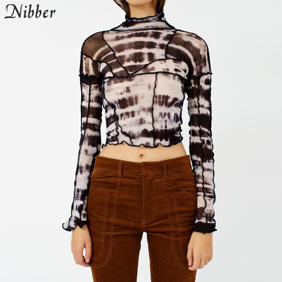 NIBBER 2020 Spring Summer Black Mesh Patchwork Crop Tops Women Long Sleeves Sexy Backless T-shirt Fashion Vintage Stretch Tees
