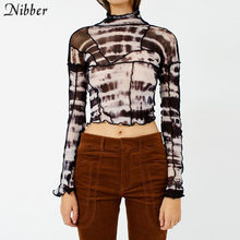 NIBBER-tops cortos de malla negra para mujer, camiseta sexy de manga larga con Espalda descubierta, camisetas elásticas vintage de moda 2020