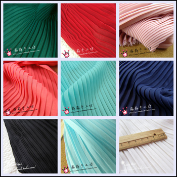 1psc multi-color Pleated Chiffon fabric pleated fabric solid color for organ dress skirt crushed (pleated 0.5m) фото