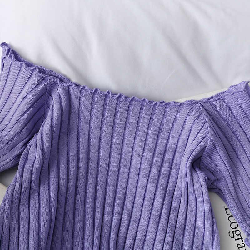 Heliar Off Shoulder T-shirt 2020 Zomer Vrouwen Skinny Breien T-shirt Katoen Dames Fashion Solid Korte Mouw T-shirts Vrouwen