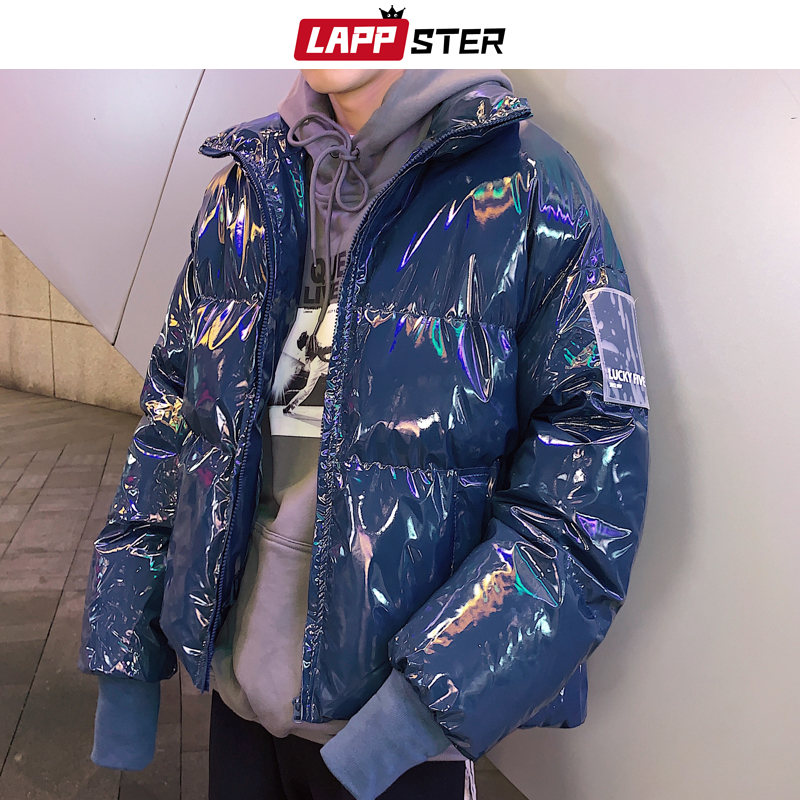 LAPPSTER Men Glossy Bubble Jacket Winter 2019 Men Colorful Puffer Jacket Harajuku Parka Male Warm Hip Hop Padded Jacket Outwear