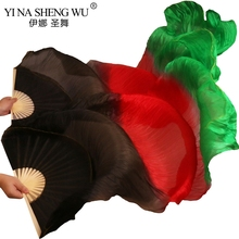 Real Silk /Imitation Unisex High Quality Belly Dance Long Fans 1 Pair of 5 Sizes Can Be Customized