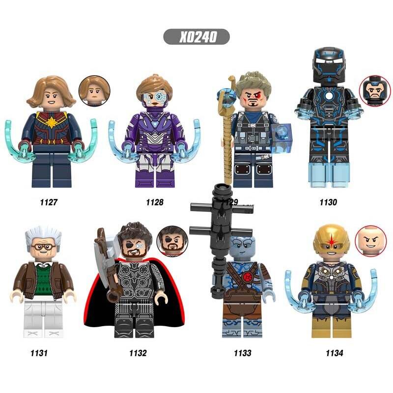 50pcs Avengers Endgame Captain Marvel Iron Man Pepper Tony Stark Thor Korg Nova building block for