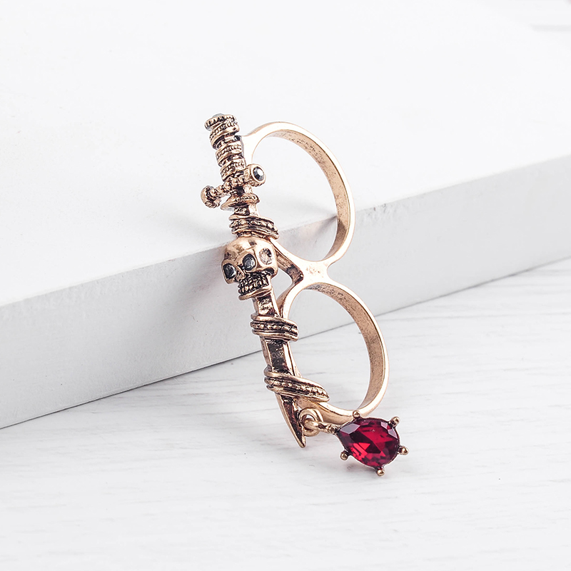 Double-Finger-Rings Sword Skull Fashion Jewelry Ancient Rock Punk-Style Vintage Wholesale