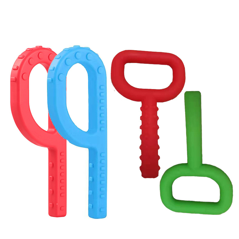 New Baby Teether Silicone P D Shaped Grabber Kids Teethers Teething Toy For Children Autism And ADHD Oral Motor Chew Tools