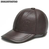 SHALUOTAOTAO Trend Winter Thermal Earmuffs Baseball Cap Adjustable Size Genuine Leather Hat For Men's Thicken Warm Snapback Caps