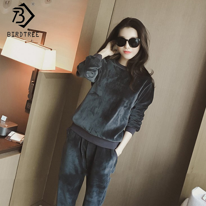 2019 Winter New Women's Velvet Tracksuits Two Pieces Set Full Sleeve O-Neck Elastic Waist Pockets Long Pant Office Lady S90305K