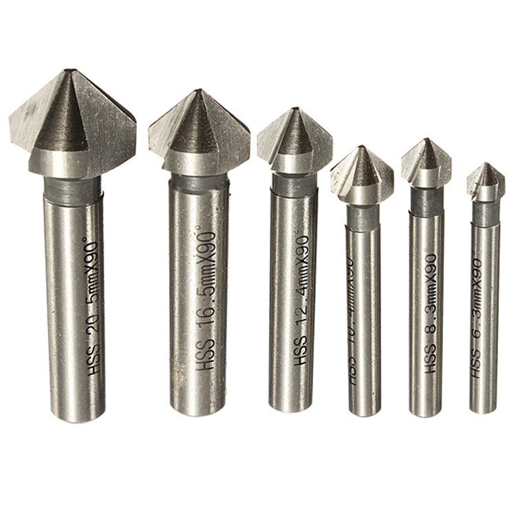 Amazon Hot Selling Single-Point/3-blade Chamfering 90 Degree Corner Milling Cutter A Set Of 6 90-Degree Chamfer Cutter